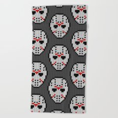 Knitted Jason hockey mask pattern Beach Towel