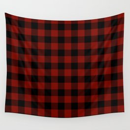 Vintage New England Shaker Large Barn Red Buffalo Check Plaid Wall Tapestry