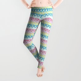 Colorful doodle hearts over blue Leggings