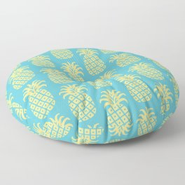 Mid Century Modern Pineapple Pattern Blue and Yellow Floor Pillow