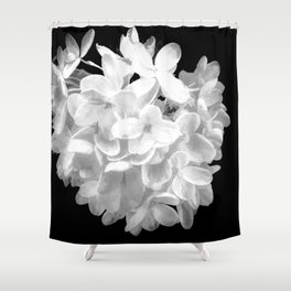 """Hydrangea """"SnowBall"""" In Black And White Shower Curtain"""