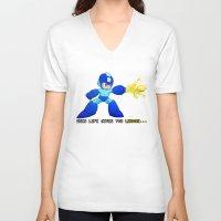 mega man V-neck T-shirts featuring Mega Man Lemons by RetroGamerJay