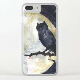 Owl's Perch with the Full Moon Clear iPhone Case
