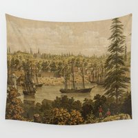 vancouver Wall Tapestries featuring Vintage Pictorial Map of Victoria Vancouver (1860) by BravuraMedia