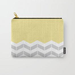 Grey, White & Yellow Half Chevron Carry-All Pouch