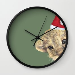 lion cub with christmas hat Wall Clock