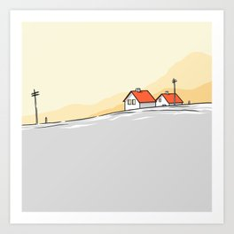 Houses on the horizon Art Print