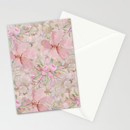 Modern Pastel Pink Watercolor Chic Floral Stationery Cards