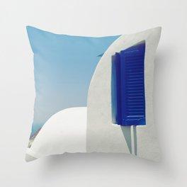 Santorini Blue & White Window Throw Pillow