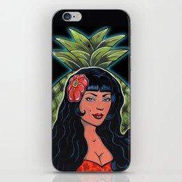 Beautiful Hawaiian Pinup Hula Girl Pineapple Princess  iPhone Skin