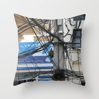 vietnam Throw Pillows featuring Vietnam Telecom by Maria Faith Garcia