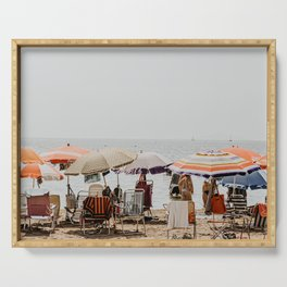 Pastel vintage people at the beach under parasol | Spain Travel photography | Fine art photo print Serving Tray