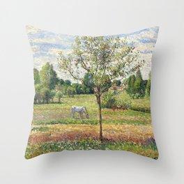 """Camille Pissarro """"Le pré avec cheval gris, Eragny""""(""""The meadow with gray horse, Eragny"""") Throw Pillow"""