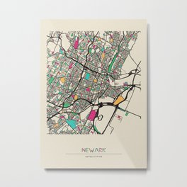 Colorful City Maps: Newark, New Jersey Metal Print