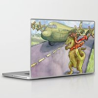 pilot Laptop & iPad Skins featuring Tyranosaurus Pilot by Theresa Lammon