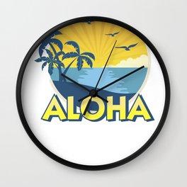 Vintage Aloha Island Surfing 70s Retro Wall Clock