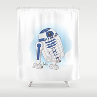 r2d2 Shower Curtains featuring R2D2 by Lalu - Laura Vargas