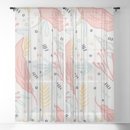 Winter Floral Wonderland Sheer Curtain