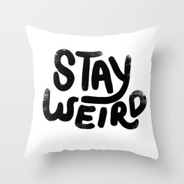 Stay Weird Vintage Throw Pillow