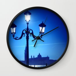 Venice in blue Wall Clock