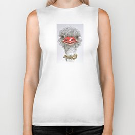 Ostrich with double pearls Biker Tank