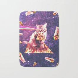 Space Cat Eating Pizza - Rainbow Laser Eyes, Burrito Bath Mat