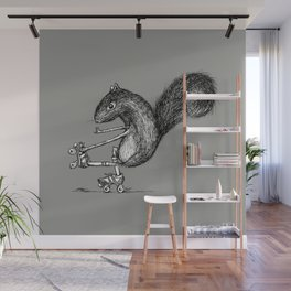 Ride On Squirrel_grey Wall Mural
