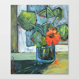 Bloom in a Blue Vase Canvas Print