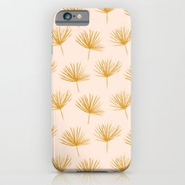 Modern Minimalist Abstract Botanical Decorative Hand-drawn Pattern in Golden and Birch Colors iPhone Case
