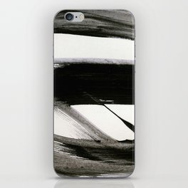 Brushstroke 9: a bold, minimal, black and white abstract piece iPhone Skin