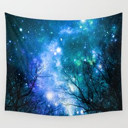 Black Trees Blue Turquoise Teal Space Wall Tapestry
