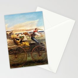 American Realism 'The Oklahoma Land Rush' landscape painting by John Steuart Curry Stationery Cards