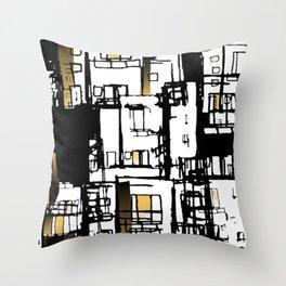 Black & Yellow Fire Escape Throw Pillow