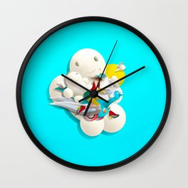 Time bunny girl and clouds Wall Clock