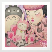 loll3 Art Prints featuring Noodle Eater by lOll3