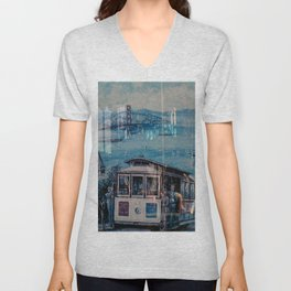 Window Reflection 001 (Horse/Trolley) Unisex V-Neck