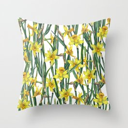 Spring's fragrances. Narcissuses. Throw Pillow