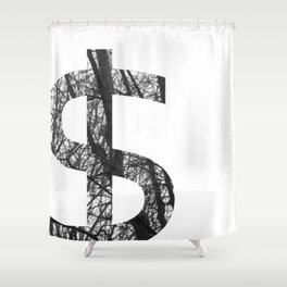 Minimal Dollar Sign Print With Photography Background Shower Curtain