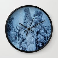 finland Wall Clocks featuring Winter in Lapland, Finland by Guna Andersone & Mario Raats - G&M Studi