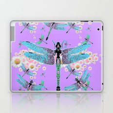 DELICATE BLUE DRAGONFLIES LILAC DAISY FLOWERS ART Laptop & iPad Skin
