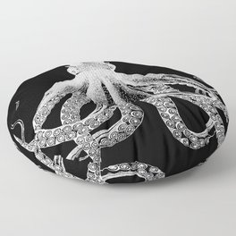 Octopus | Vintage Octopus | Tentacles | Black and White | Floor Pillow