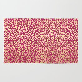 Glam Pink and Glitzy Gold Leopard Pattern Print Rug