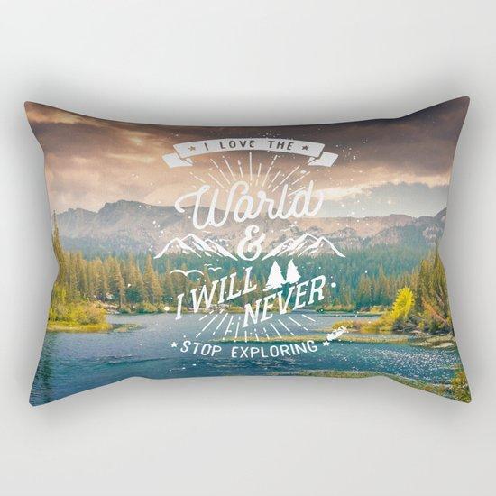 Inspirational Quote and Mountains III Rectangular Pillow