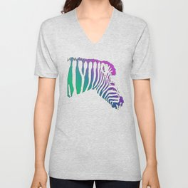 Colourful Zebra Unisex V-Neck
