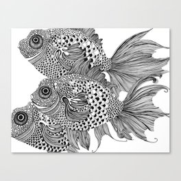 Three White Fish Canvas Print