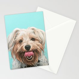 Adorable Yorkie Painting, Yorkshire Terrier Portrait, Smiling Yorkie Art Stationery Cards