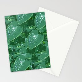 Green leaves with morning dew Stationery Cards