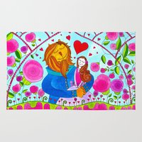 beauty and the beast Area & Throw Rugs featuring Beauty and the Beast by Sandra Nascimento