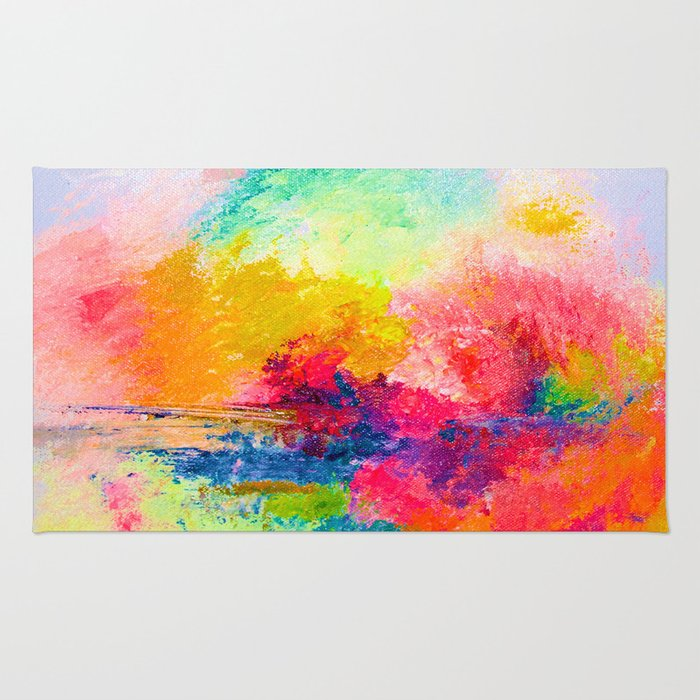 Colorful Bright Abstracted Landscape Painting. Version 2 - Bright Neon Rug
