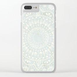 Powder Blue Mandala Clear iPhone Case